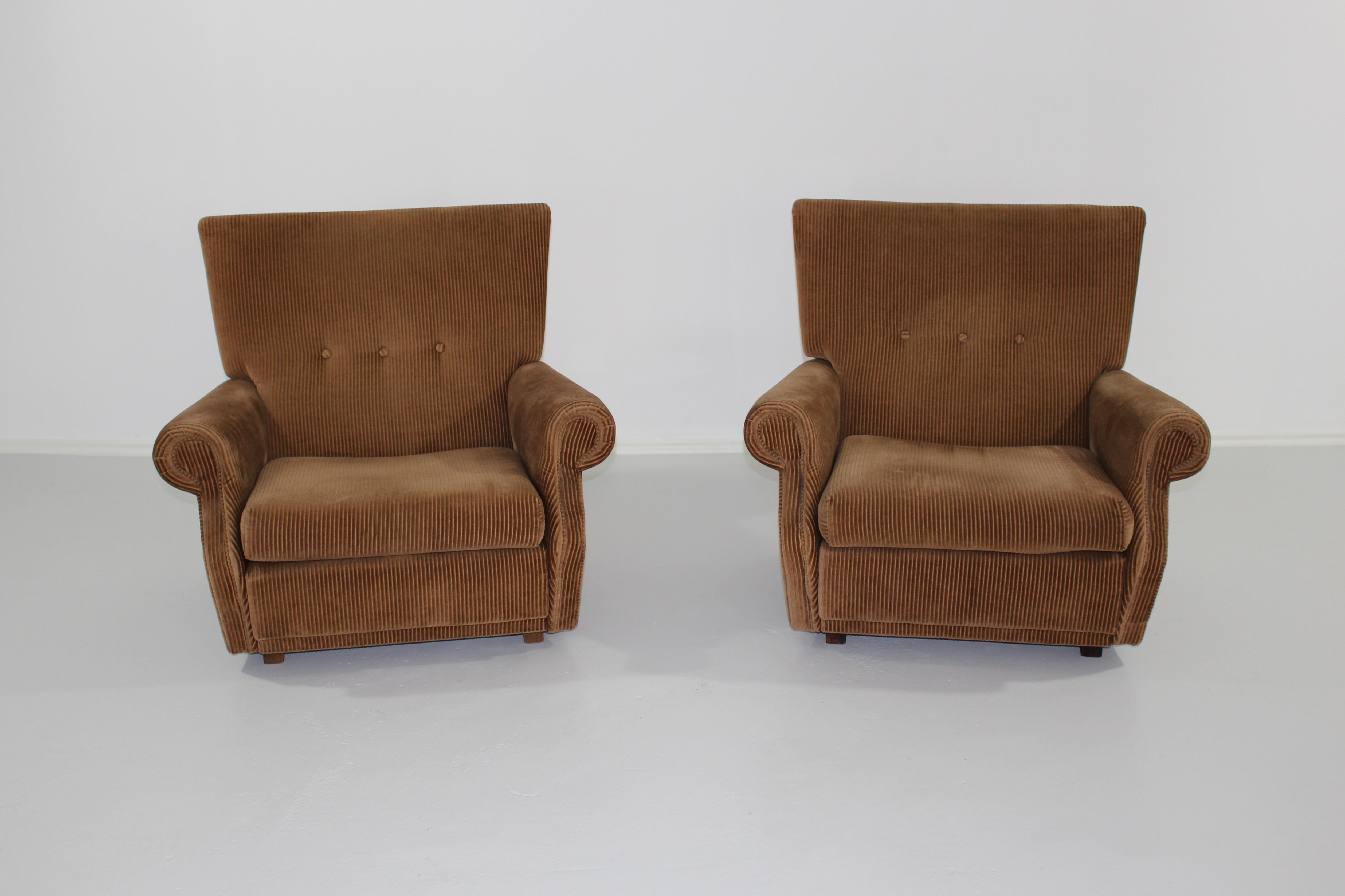 2 X Comfortable 70 S Beige Light Brown Corduroy Armchair